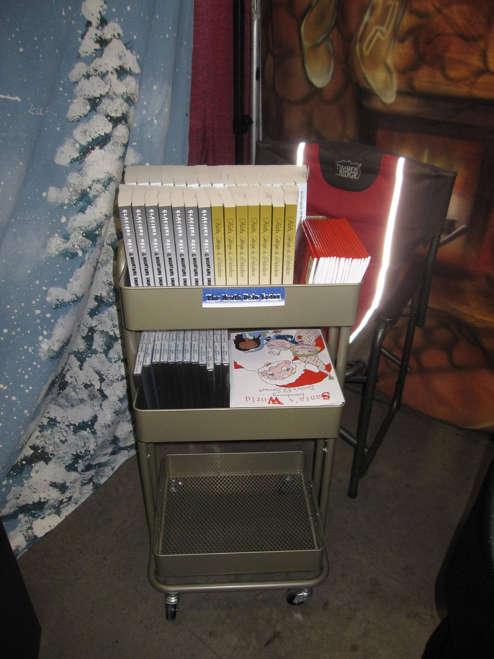 library cart before Columbia show